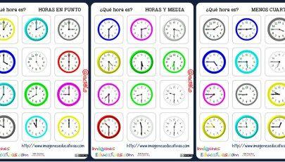 Trabaja las horas y con estas fichas de relojes analógicos.