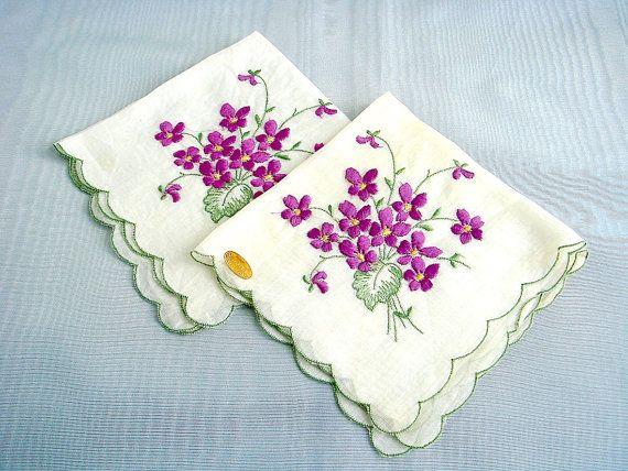 Violet Bouquet Embroidered Pair of Swiss Handkerchiefs