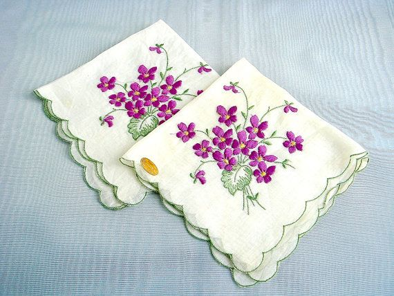 Violet Bouquet Embroidered Pair of Swiss Handkerchiefs