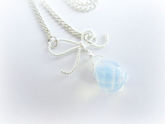 Opalite moonstone pendant necklace bow by MalinaCapricciosa