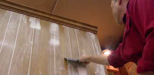 Use Sherwin Williams PrimeRx to get a really smooth finish after you Fill Grooves in Paneling
