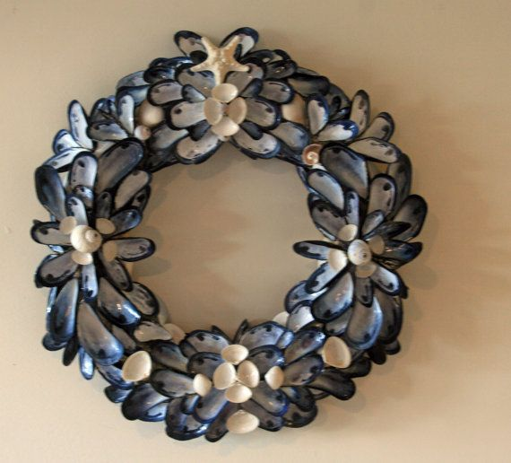 Coastal Shores LARGE Blue Mussell Shell Wreath Wall by nancylee97, $100.00