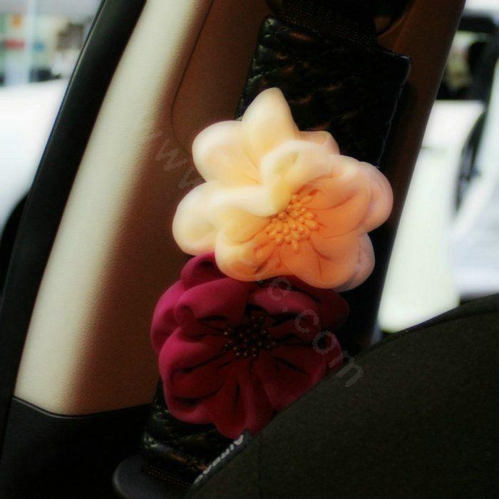 65 79 Luxury Roses Flower Floral Sheepskin Auto Seat Safety Belt Covers Car Decoration 2pcs Black