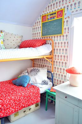 Retro bunk beds in a colorful kids' room