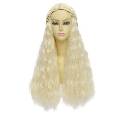 Game of Thrones Cosplay Wig Daenerys Targaryen khaleesi Long Curly Hair Beige