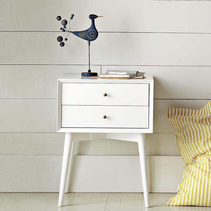 White mid-century nightstand