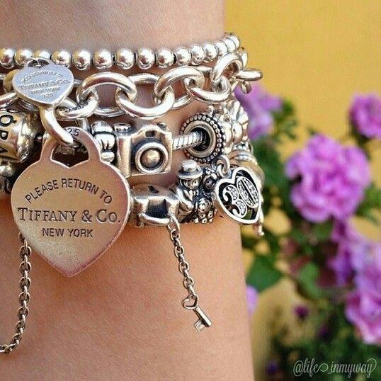 Silver bracelets. Pandora  and Tiffany