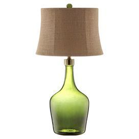 "The perfect addition to your living room or den, this charming table lamp showcases a tan linen shade and coordinating finial.   Product: Table lampConstruction Material: Glass and linenColor: Green and tanAccommodates: (1) 100 Watt bulb - not includedDimensions: 30.5"" H x 17"" Diameter"