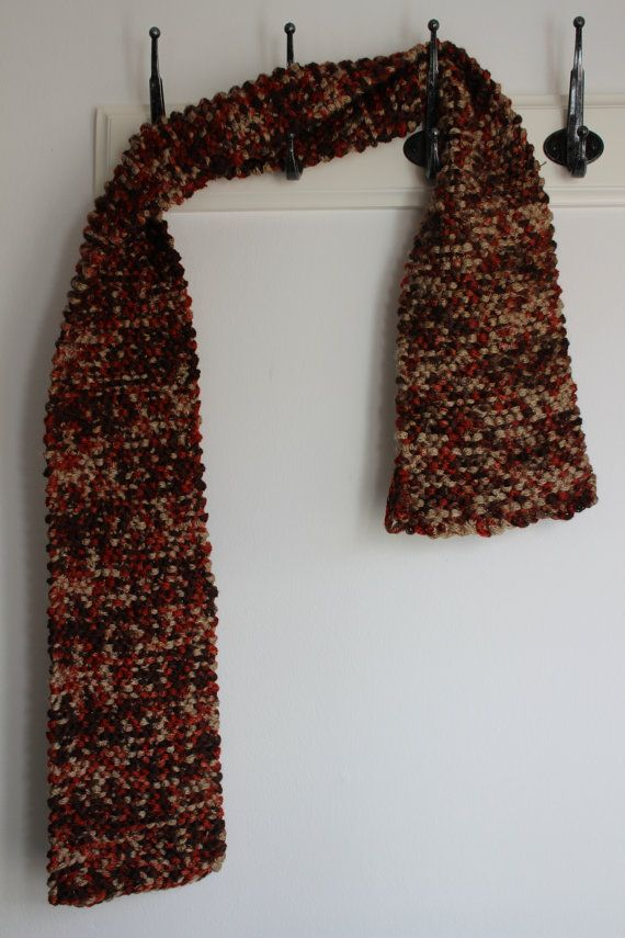 Brown,beige and red hand knitted scarf