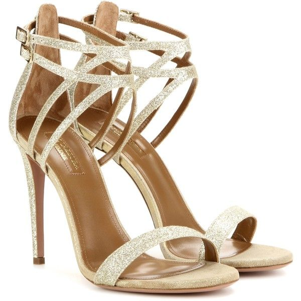 Aquazzura Lucille 105 Glitter Sandals ($590) ❤ liked on Polyvore featuring shoes, sandals, heels, calçados, gold, heeled sandals, glitter heel shoes, gold shoes, aquazzura shoes and gold sandals