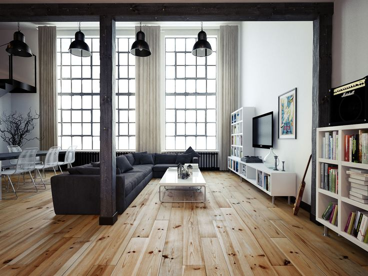 Vintage Industrial Loft | Wooden flooring and industrial lamps: two simple details that will transform your home into an incredible industrial project. | Find more Vintage Industrial Style Interior Designs at www.vintageindustrialstyle.com