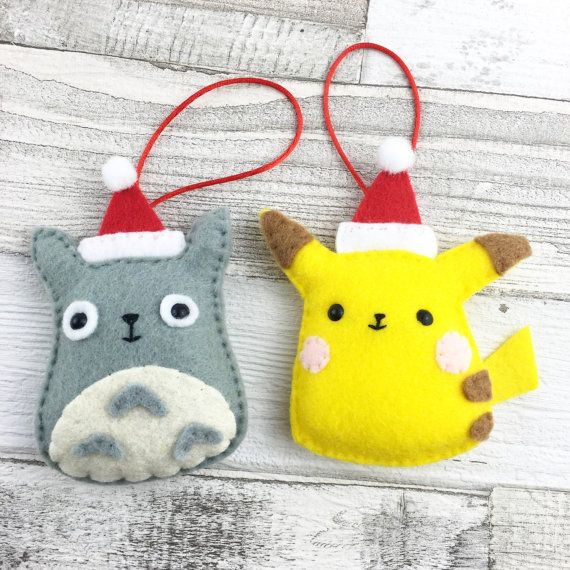 Pikachu hanging felt ornament Totoro toy Pokemon by MombiAndTed