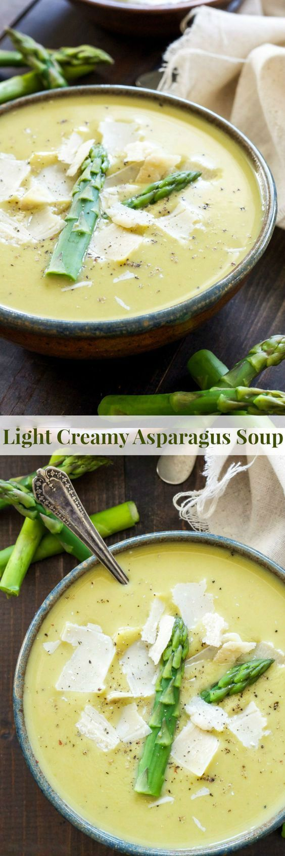 Take advantage of spring produce and make this Light Creamy Asparagus Soup! Loaded with fresh asparagus, leeks, peas and Greek yogurt to make it creamy, but also keeping it light and healthy! Color…