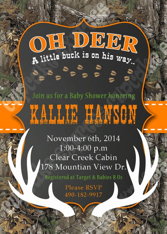 Camo baby shower Boy deer Hunting PRINTABLE by CupcakeExpress