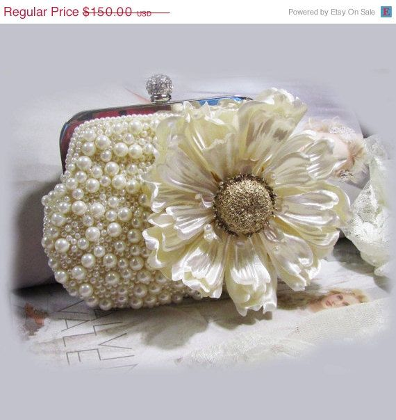 Bridal clutch, wedding accessory, Unique Crystal bridal clutch by BijouxandCouture, $105.00