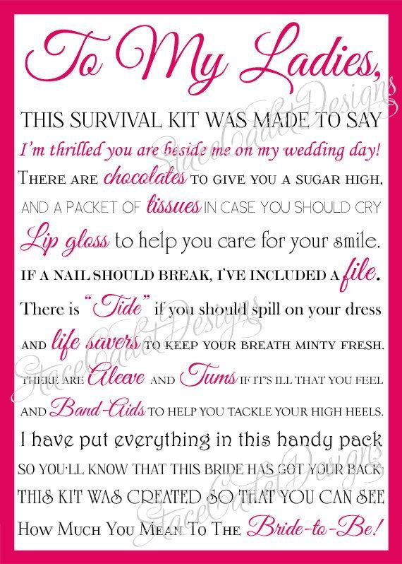 Adorable bridesmaid survival kit card!!