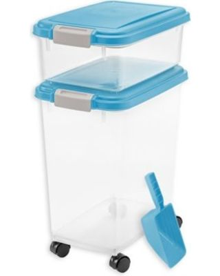 IRIS®️️ 3-Piece Airtight Pet Food Container Combo in Blue #dogfoodstorage #dogfoodbin