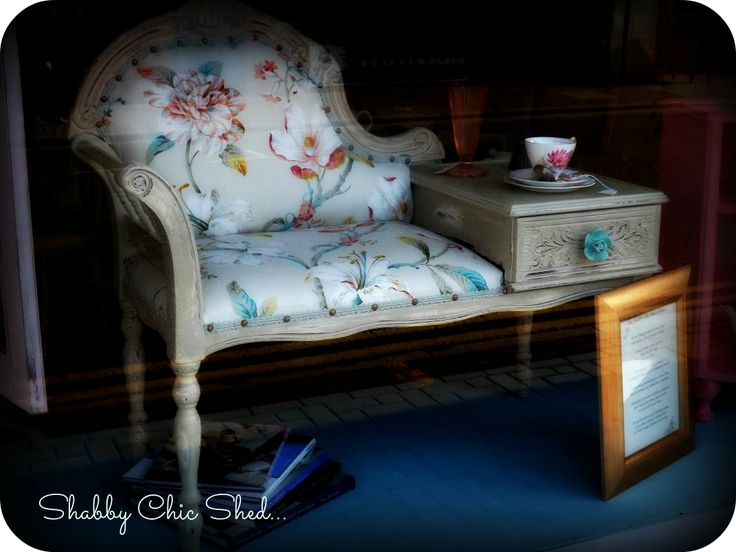 Vintage telephone table re loved in our French Linen over Antique Ivory, & re upholstered in Exotic...