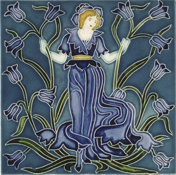 Blue-bell tile from Flora's Train (c. 1900), for Pilkington's Tile and Pottery Co. Earthenware, with relief decoration painted with coloured glazes, England - Walter Crane