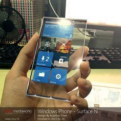 Windows Phone Surface N with Transparent 4k Display