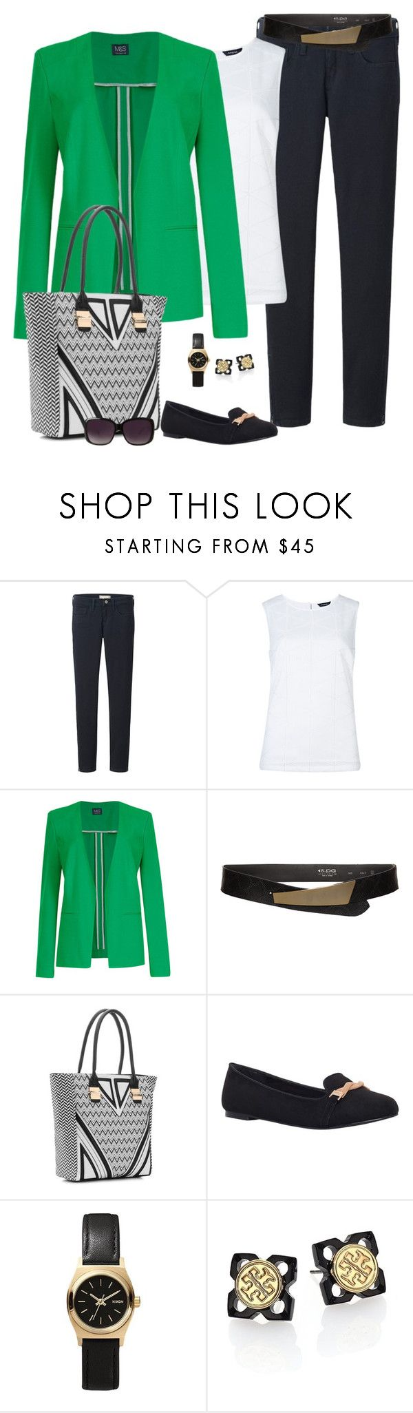 """""""St. Patty's Day"""" by fiftynotfrumpy ❤ liked on Polyvore featuring Uniqlo, M&S, s.pa accessoires, Melie Bianco, Carvela, Nixon, Tory Burch and Merona"""