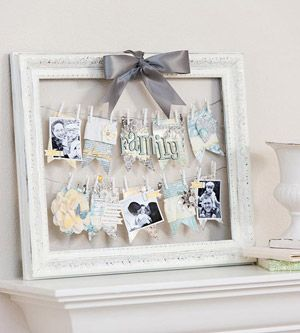 Photo Clothesline            Put a twist on family photos by stringing wire or fishing line across an empty frame and pinning photos and patterned paper accents to the lines