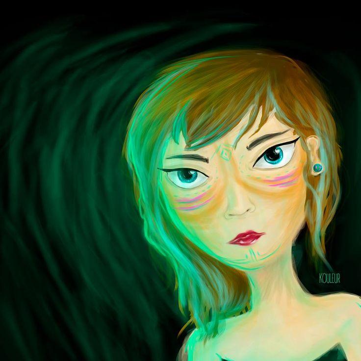 #lights #green #illustration #girl #kouleur