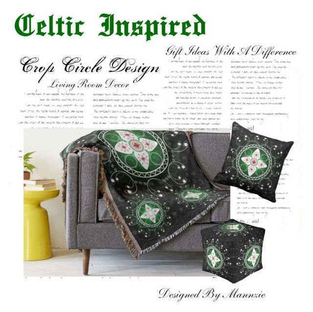 """""""Living Room Decor - Celtic Inspired"""" by mannzie on Polyvore featuring interior, interiors, interior design, home, home decor, interior decorating, living room, pillows, throwpillows and throwblanket"""