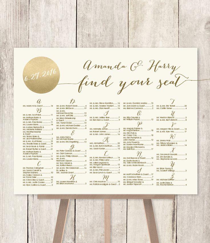 Alphabetical Seating Chart Sign DIY // Gold Sparkle Wedding Sign / Metallic Gold and Cream / Find Your Seat / Customized Sign ▷Printable PDF von JadeForestDesign auf Etsy https://www.etsy.com/de/listing/238332621/alphabetical-seating-chart-sign-diy-gold