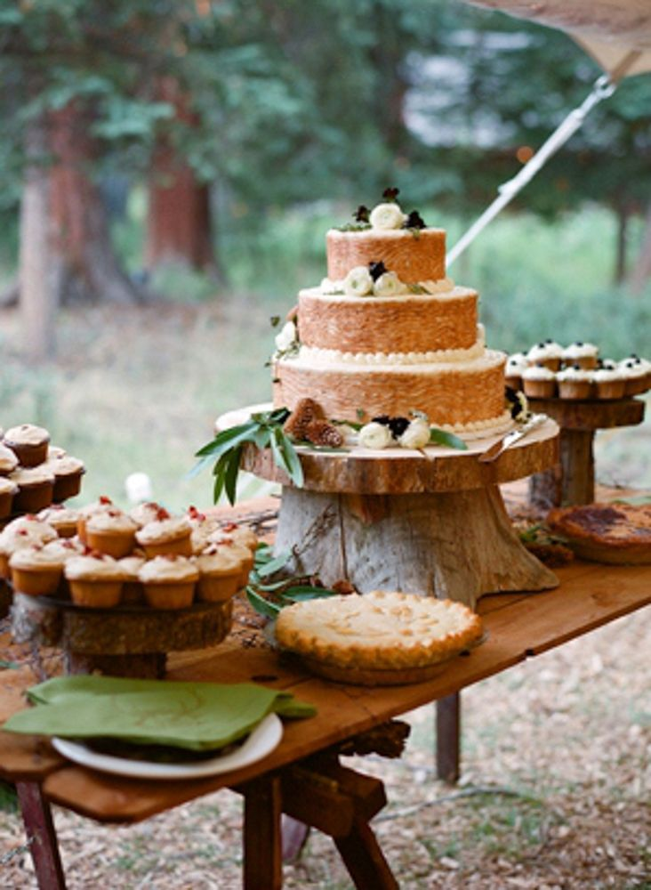 Rustic wedding cake table
