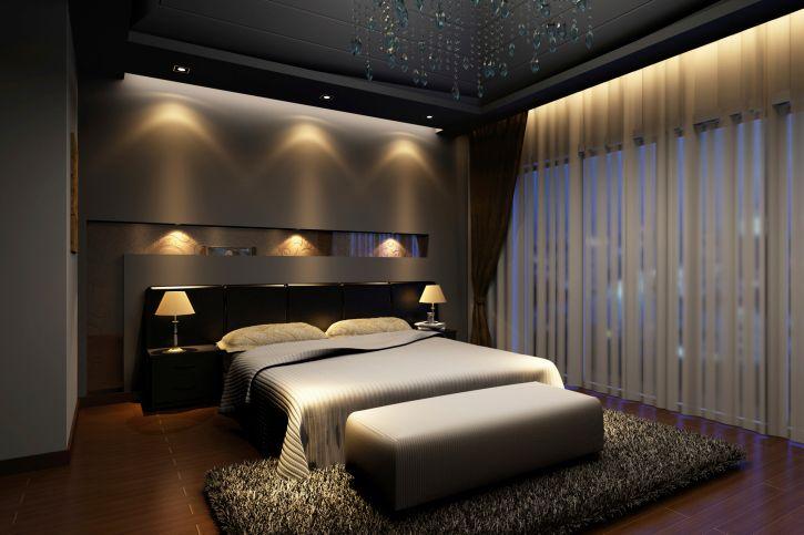 Elegant dark master bedroom design with dark hard wood floor, dark walls, built-in lighting and large dark rug