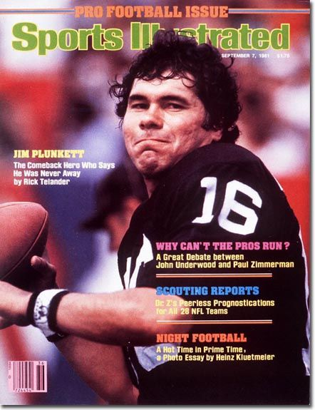On the Cover: Jim Plunkett, Football, Oakland Raiders  Photographed by: Heinz Kluetmeier