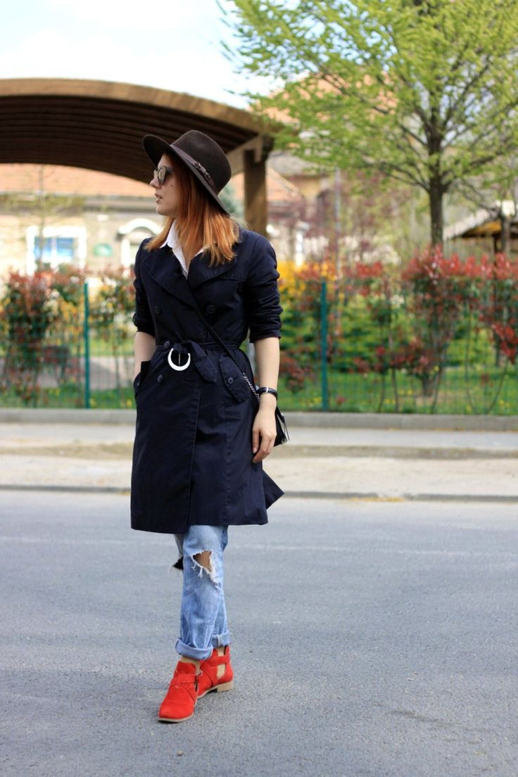 trench-coat, red cut out boots, vintage hat, distressed jeans