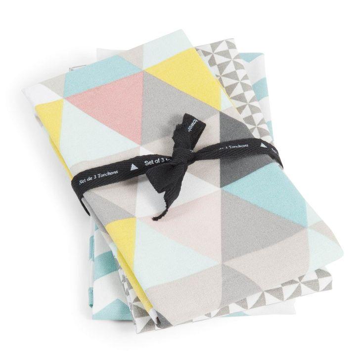 3 LUCIA cotton tea towels, multicoloured | Maisons du Monde