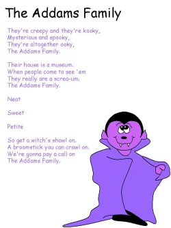 halloween song addams family theme song printout for kids