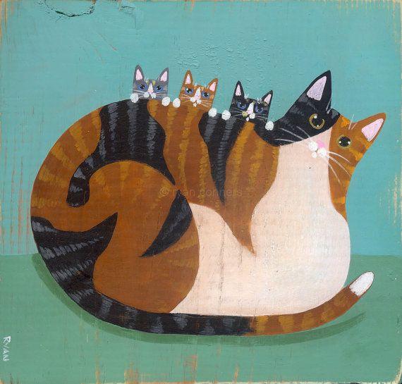 Calico Mother and Kittens Original Cat Folk Art