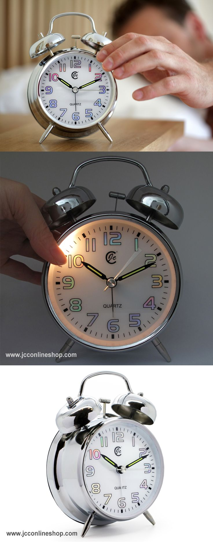 "JCC 4"" Retro Twin bell Non Ticking Analog Alarm Clock  #jcc #alarm #clock #twin #bell #analog #retro #vintage #classic #bedside #bedroom"