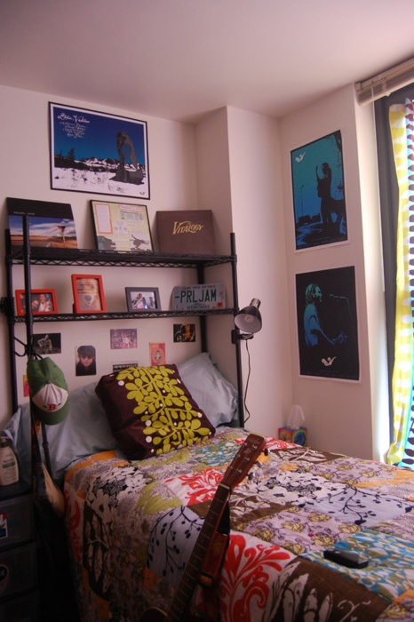 shelving over bed, works as a headboard where I can shelve all my books