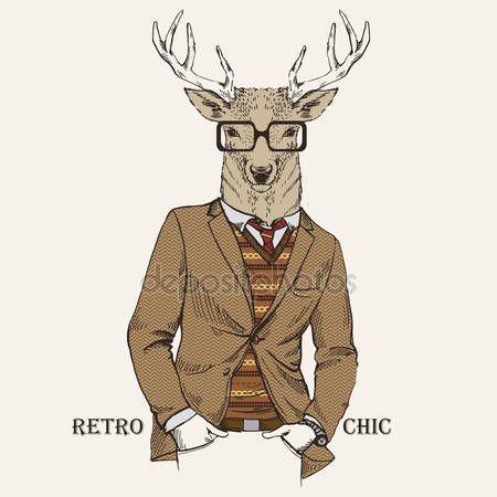 Stáhnout - Módní ilustrace jelenů, oblečený v retro stylu — Stocková ilustrace #33401147