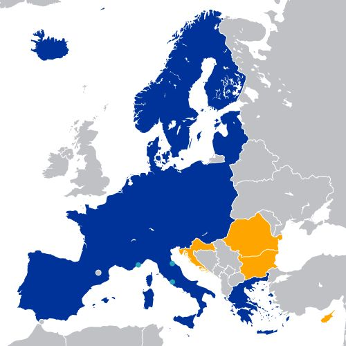 Schengen Area: There are territories of member states that are exempted from the Schengen Agreement. No area that is located outside Europe (except the Canary Islands, the Azores and Madeira) is part of the Schengen Area. Some areas in Europe are also excluded.
