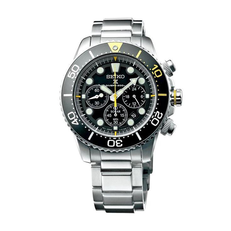 Ανδρικό ρολόι SEIKO SSC613P1 Prospex Solar Diver's 200m με μαύρο καντράν, χρονογράφο, ημερομηνία και ατσάλινο μπρασελέ | ΤΣΑΛΔΑΡΗΣ στο Χαλάνδρι #seiko #prospex #solar #divers #μαυρο #tsaldaris