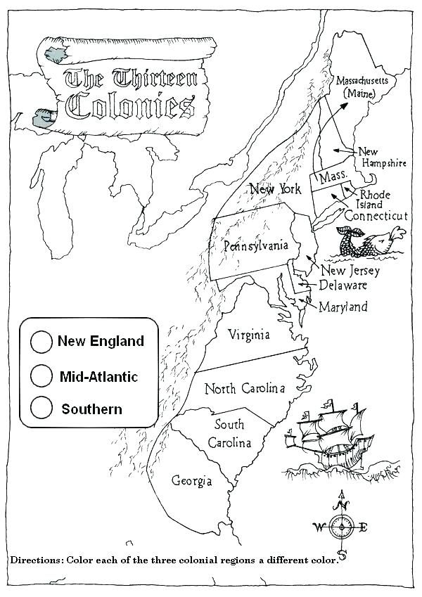 History Coloring Page Thirteen Colonies New England 3rd Grade