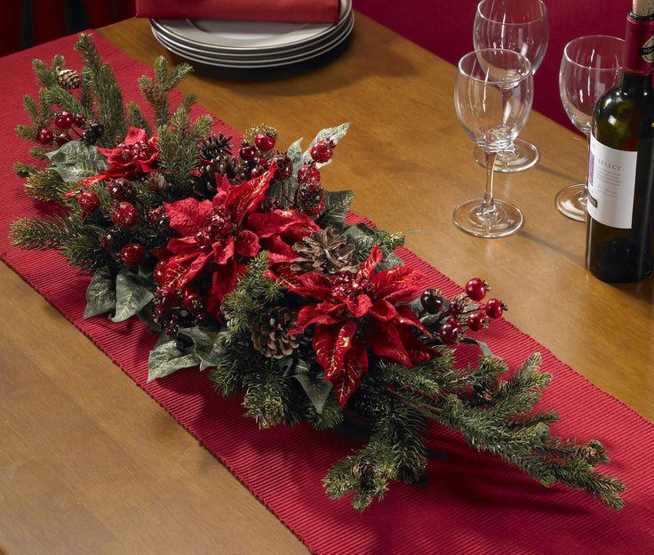 Real Looking Poinsettia & Berry Centerpiece - Holiday - Silk Arrangement
