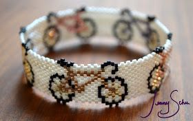 Jenny Schu's Beads, Yarn and Other Sundries: Fresh pieces for Curvaceous on Friday! Deco Wing Bangle and Earrings, Bicycle Bangle