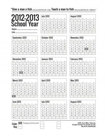 Yearly plan calendar. Print large and put up in schoolroom. Mark off in different colors certain days or blocks of time and code it at the bottom.
