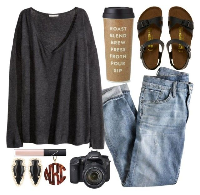 """""""not cool enough for an outfit like this // alexis"""" by southern-belles ❤ liked on Polyvore featuring J.Crew, H&M, Birkenstock, Kate Spade, Kendra Scott, NARS Cosmetics, Eos and preplex"""