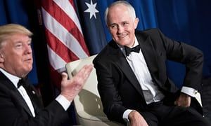 Malcolm Turnbull listens to Donald Trump at their meeting in May in New York