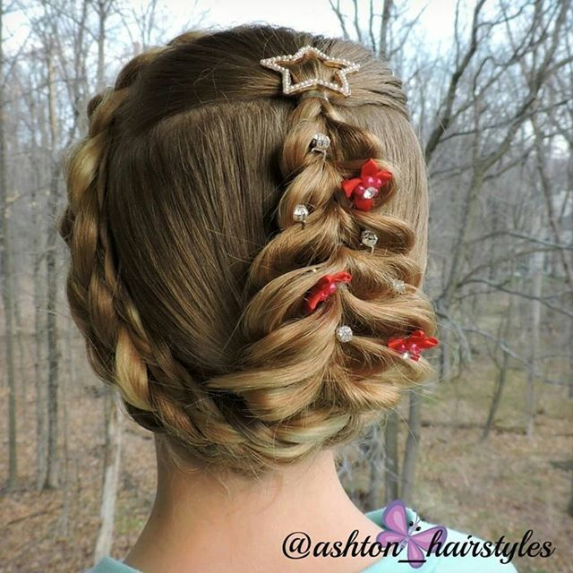 I Love Doing Fun Holiday Hairstyles Ashton And Did This Sweet Christmas Tree Inspired By We Were Hoping For An Elegant Look With Making It Into Updo