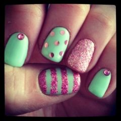 Mint green and pink nails. Glitter, foil and rhinestones.