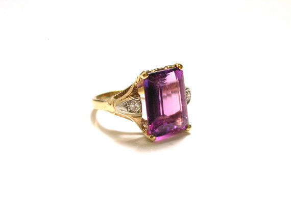14k Yellow Gold Diamond Purple Stone Ring  Size by WatchandWares